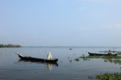 A villager in a boat do fishing in the backwaters Stock Photography