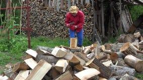 Villager guy prepare organic wood fuel near woodshed for winter season. 4K stock video