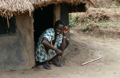 A villager outside a hut, Uganda. Stock Images
