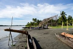 Villager on Sepik River, Papua New Guinea Royalty Free Stock Images