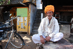 A villager wearing a traditional Rajasthani turban Stock Photo