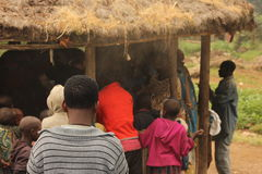 The villagers. An African village receiving gifts Stock Image