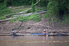 Villagers on a boat on  Nam Ou river Stock Image
