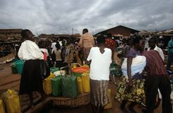 Villagers collecting water, Uganda Stock Images
