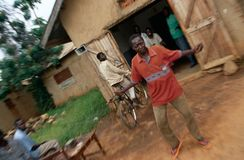 Villagers dancing to music, Uganda Royalty Free Stock Photos