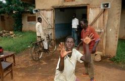 Villagers dancing to music, Uganda Stock Images