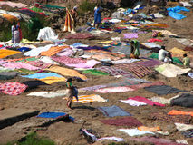 Villagers Drying Clothes Stock Photo