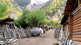 Villagers  on horseback in the mountains Royalty Free Stock Photography