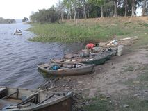 Villagers ship. Parking place Stock Photos