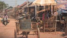 Villagers on streets of Tonle Sap, Cambodia Royalty Free Stock Image
