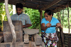 Villagers from the suburbs of Kandy engaged in the production of fiber. Stock Photo