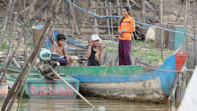 Villagers of Tonie Sap, Cambodia Royalty Free Stock Image
