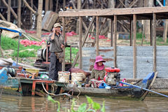 Villagers, Tonle Sap, Cambodia Royalty Free Stock Image