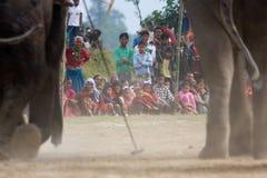 Villagers watching a polo tournament, during polo game, Thakurdwara, Bardia, Nepal. Villagers watching a polo tournament, during polo game, at Thakurdwara Stock Photos