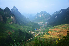 Villages in the Canyon. China, Guangxi China Stock Images