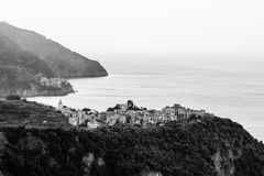Villages Corniglia and Manarola at the Morning Stock Images