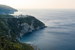 Villages Corniglia and Manarola at the Morning Royalty Free Stock Photography