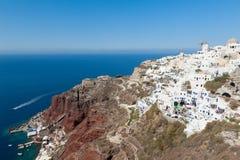 Villages d'Oia et d'Amoudi dans Santorini Grèce Image stock