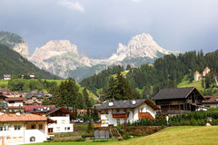 Villages in Dolomites mountain Stock Images