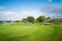Villages Golf Panoramica. Golf course in the sunlight with sprinkles watering the grass Royalty Free Stock Photo