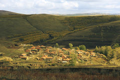 Villages in the hilly areas of Inner Mongolia. China in the autumn Royalty Free Stock Image