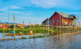 The villages on Inle Lake, Myanmar. YWAMA, MYANMAR - FEBRUARY 18, 2018: The stilt houses, floating farms and canels of the village on Inle Lake, on February 18 Stock Photo