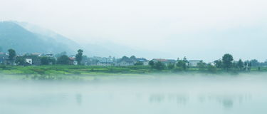 Villages in mist Royalty Free Stock Photo