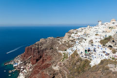 Villages of Oia and Amoudi in Santorini Greece Stock Image