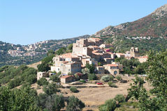 The villages of Pigna and Corbara on Corsica island Royalty Free Stock Photo