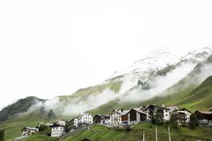 Villages of Tschlin and Ramosch at beside road between go to Samnaun is a high Alpine village Royalty Free Stock Images