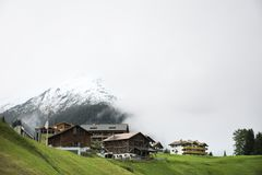 Villages of Tschlin and Ramosch at beside road between go to Samnaun is a high Alpine village Stock Image
