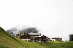Villages of Tschlin and Ramosch at beside road between go to Samnaun is a high Alpine village Stock Photo