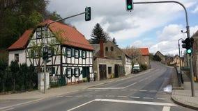 Villagestreet com halftimberhouses Fotografia de Stock Royalty Free