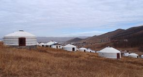 Villaggi di Yurt in Mongolia Fotografie Stock Libere da Diritti