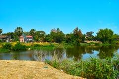 Villaggio al Mekong in Kratie, Cambogia immagini stock libere da diritti