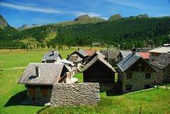 Villaggio alpino. Alpe Devero, Italia Fotografia Stock