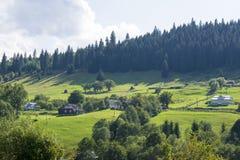 Villaggio alpino in Ucraina Immagini Stock
