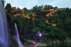 Villaggio antico di Furong (ibisco) alla notte Fotografia Stock