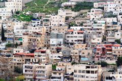 Villaggio arabo di Silwan a Gerusalemme orientale Fotografia Stock Libera da Diritti