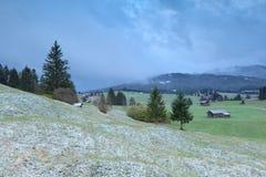 Villaggio bavarese nell'inverno Fotografie Stock