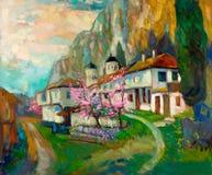 Villaggio bulgaro nella montagna Immagine Stock