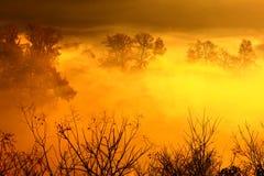 Villaggio cinese in nebbia Immagini Stock Libere da Diritti