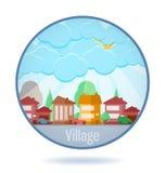 Villaggio colorato nel telaio del cerchio illustrazione vettoriale