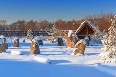 Villaggio commerciale antico della fabbrica all'inverno in Pruszcz Gdanski Fotografie Stock Libere da Diritti