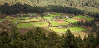Villaggio del Bhutan in valle della montagna Immagine Stock Libera da Diritti