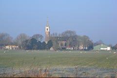 villaggio del dutch della chiesa Fotografie Stock