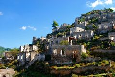 Villaggio del fantasma di Kayakoy Fotografie Stock Libere da Diritti