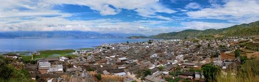 Villaggio del pescatore del lago Erhai Fotografie Stock Libere da Diritti