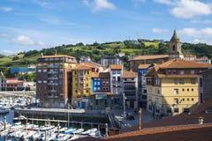 Villaggio del pescatore di Bermeo nella costa di Paese Basco Europ Fotografia Stock Libera da Diritti