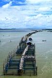 Villaggio del pescatore in mare tailandese Fotografia Stock